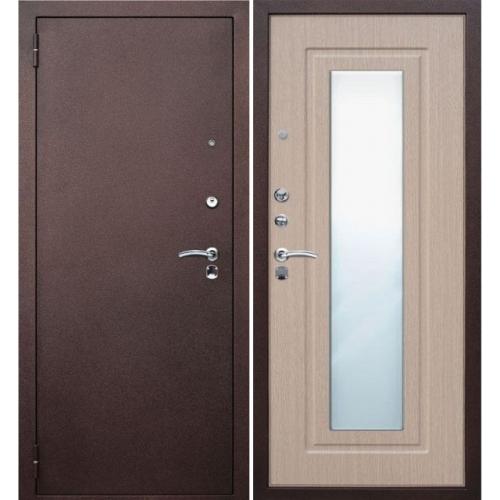 дверь входная металлическая с зеркалом беленый дуб